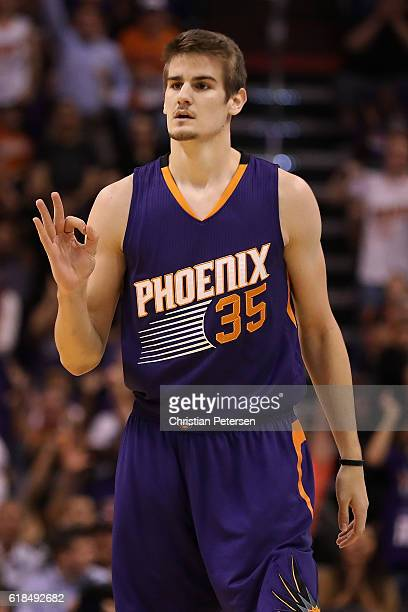 Dragan Bender of the Phoenix Suns reacts to a three point shot against the Sacramento Kings during the second half of the NBA game at Talking Stick...