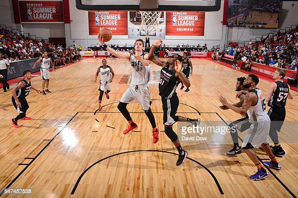 Dragan Bender of the Phoenix Suns shoots a lay up against the Miami Heat during the 2016 NBA Las Vegas Summer League game on July 14 2016 at the Cox...