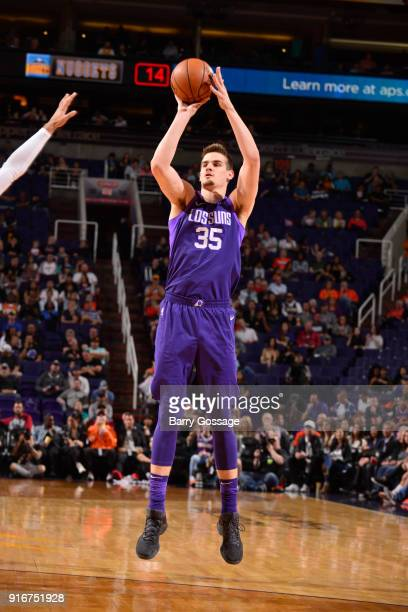 Dragan Bender of the Phoenix Suns shoots the ball against the Denver Nuggets on February 10 2018 at Talking Stick Resort Arena in Phoenix Arizona...