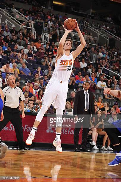 Dragan Bender of the Phoenix Suns shoots the ball against the Detroit Pistons on November 9 2016 at Talking Stick Resort Arena in Phoenix Arizona...