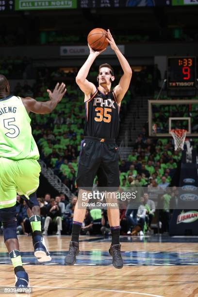 Dragan Bender of the Phoenix Suns shoots the ball against the Minnesota Timberwolves on December 16 2017 at Target Center in Minneapolis Minnesota...