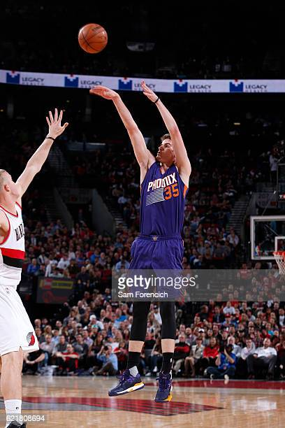 Dragan Bender of the Phoenix Suns shoots the ball during a game against the Portland Trail Blazers on November 8 2016 at the Moda Center in Portland...