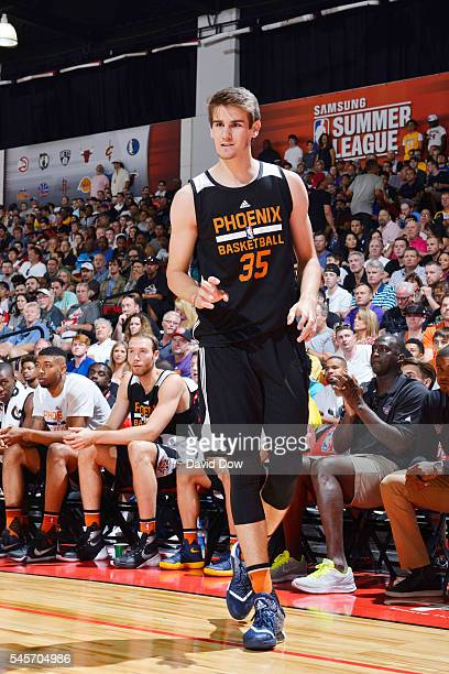 Dragan Bender of the Phoenix Suns stands on the court against the Portland Trail Blazers during the 2016 NBA Las Vegas Summer League game on July 9...