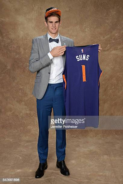 Dragan Bender poses for a portrait after being drafted number four overall by the Phoenix Suns during the 2016 NBA Draft on June 23 2016 at Barclays...