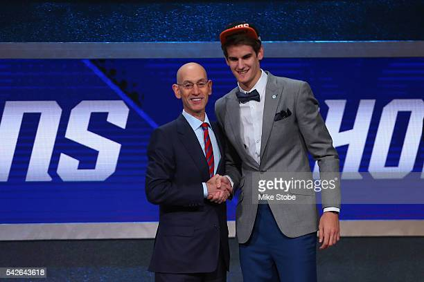 Dragan Bender poses with Commissioner Adam Silver after being drafted fourth overall by the Phoenix Suns in the first round of the 2016 NBA Draft at...