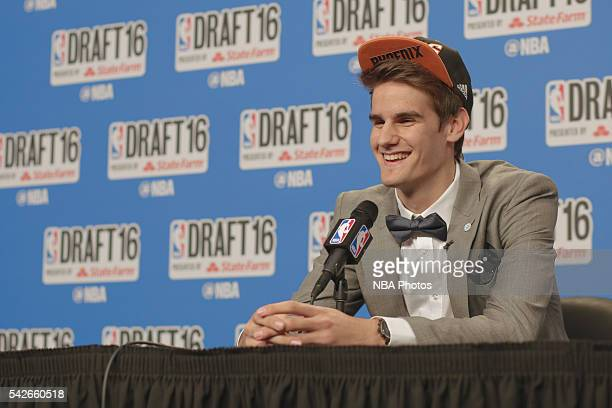 Dragan Bender speaks with press after being selected fourth overall by the during the 2016 NBA Draft on June 23 2016 at Barclays Center in Brooklyn...
