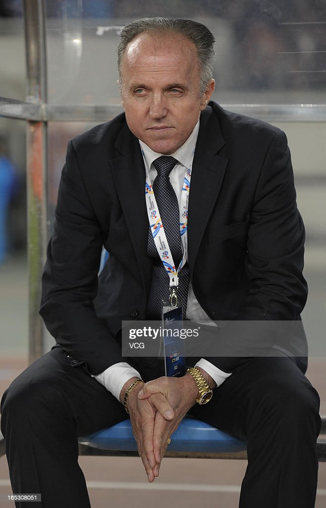Dragan Okuka, head coach of Jiangsu Sainty, looks on during the AFC Champions League match between Jiangsu Sainty and Buriram United at Nanjing Olympic Sports Center Stadium on April 2, 2013 in Nanjing, China.