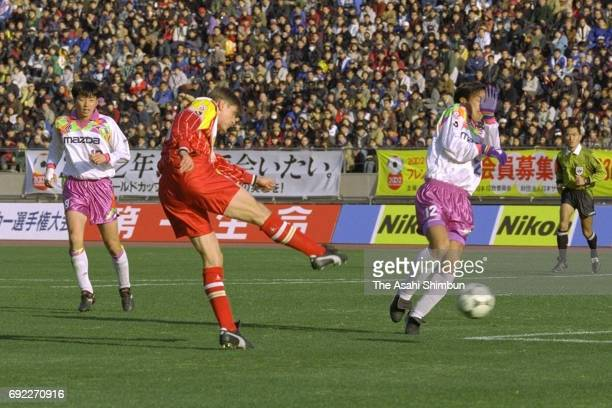 Dragan Stojkovic of Nagoya Grampus Eight shoots at goal during the 75th Emperor's Cup final between Nagoya Grampus Eight and Sanfrecce Hiroshima at...