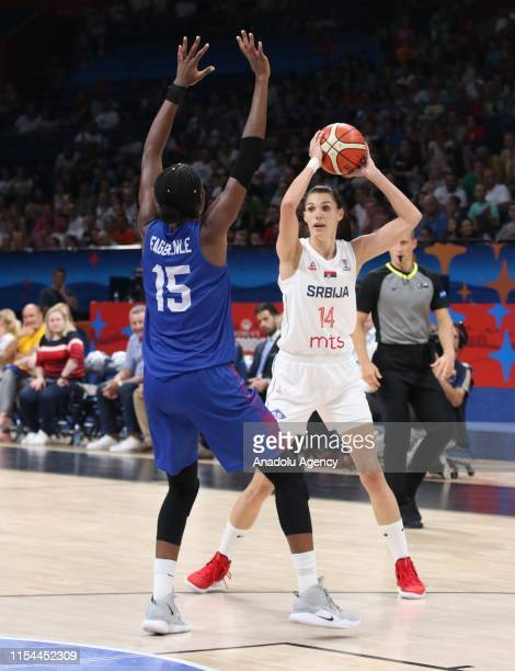 Dragana Stankovic of Serbia in action against Temi Fagbenle of Great Britain during the FIBA Women's Eurobasket 2019 match between Serbia and Great...