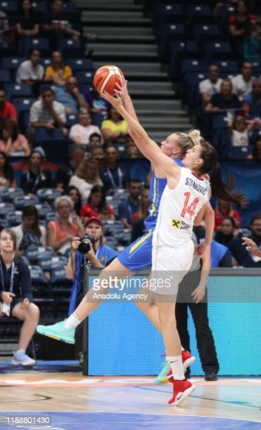 Dragana Stankovic of Serbia in action during the FIBA Women's Eurobasket 2019 quarterfinals match between Serbia and Sweden on July 4 2019 in...