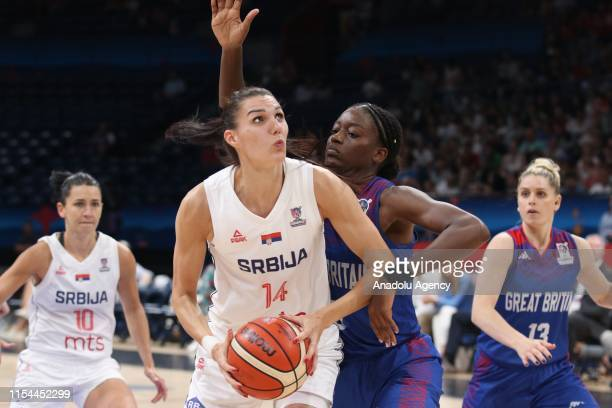 Dragana Stankovic of Serbia in action during the FIBA Women's Eurobasket 2019 match between Serbia and Great Britain on July 07, 2019 in Belgrade,...