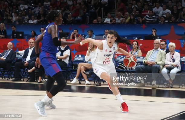 Dragana Stankovic of Serbia in action during the FIBA Women's Eurobasket 2019 quarter between Serbia and Great Britain on July 07, 2019 in Belgrade,...