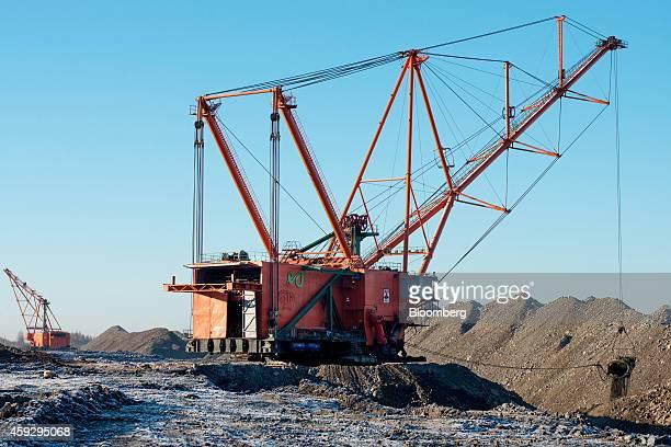 Dragline excavators dig oil shale from the floor of Eesti Energia AS's open pit mine in Narva Estonia on Wednesday Nov 19 2014 Eesti Energia is one...