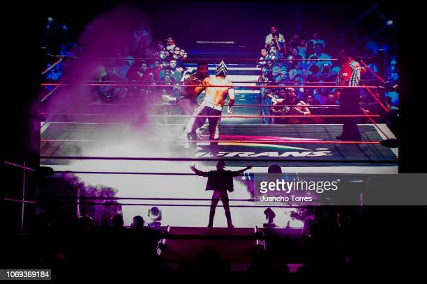 Drago enters the arena during an AAA World Wide Wrestling match on November 16 2018 in Bogota Colombia