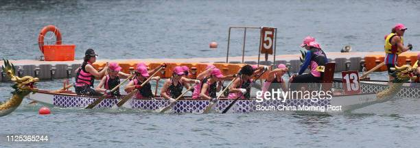 Dragon Abreast Hong Kong in action during Lee Kum Kee 8th International Dragon Boat Federation Club Crew World Championships at Victoria Harbour Tsim...