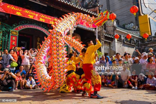 Dragon and lion dance show in Lunar New Year festival, Viet Nam