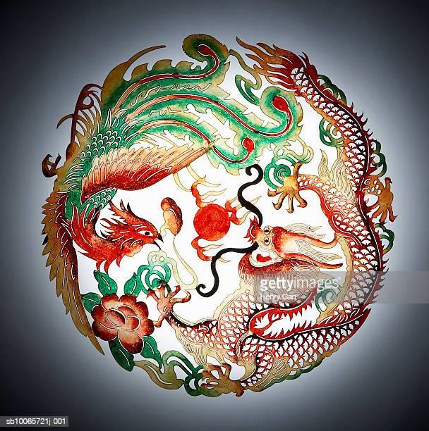 Dragon and phoenix stencil