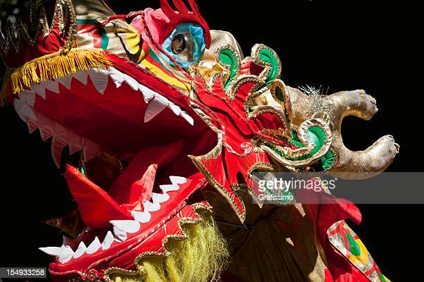 dragon at chinese new year celebration - chinese dragon stock photos and pictures