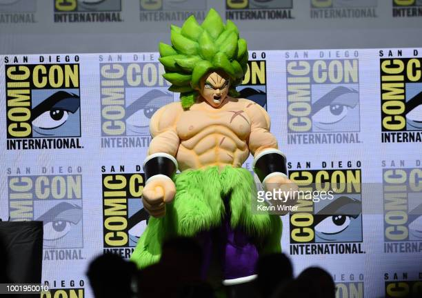 Dragon Ball Super Broly appears onstage during the Dragon Ball Super panel during ComicCon International 2018 at San Diego Convention Center on July...