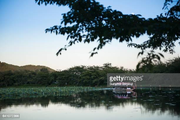 Dragon boat in Osawa pond in Daikakuji temple on Moon viewing night