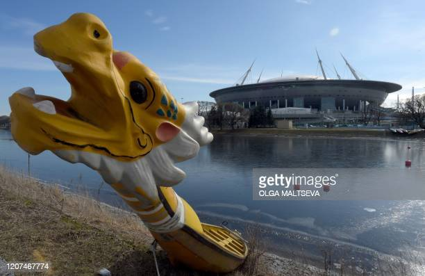 A dragon boat is seen in front of the Saint Petersburg Stadium in Saint Petersburg on March 17 2020 UEFA has proposed postponing the European...