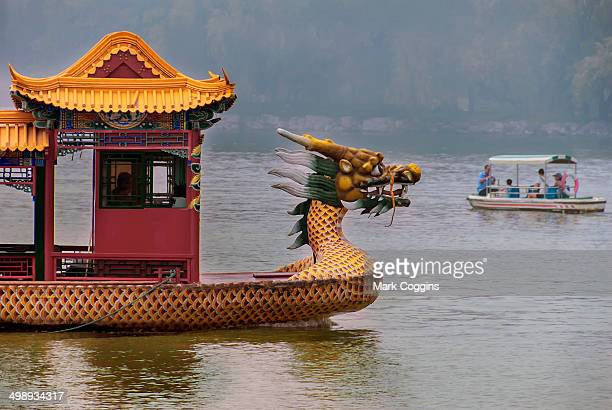 Dragon boat on the lake by the Summer Palace in Beijing, China.