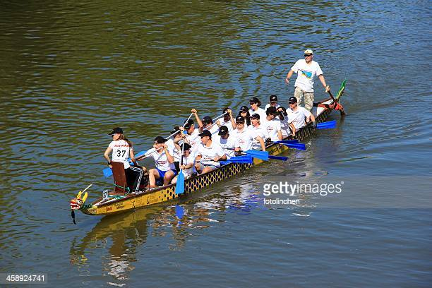 dragon boat race in nuertingen - dragon boat festival stock pictures, royalty-free photos & images
