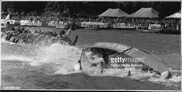 Dragon Boat races at Farm CoveMany crews parted company with their unstable craft and ended up in the drink April 13 1986