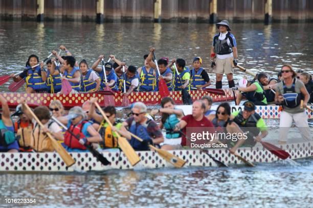 Dragon Boat Racing, Cuyahoga River, Cleveland, Ohio, USA