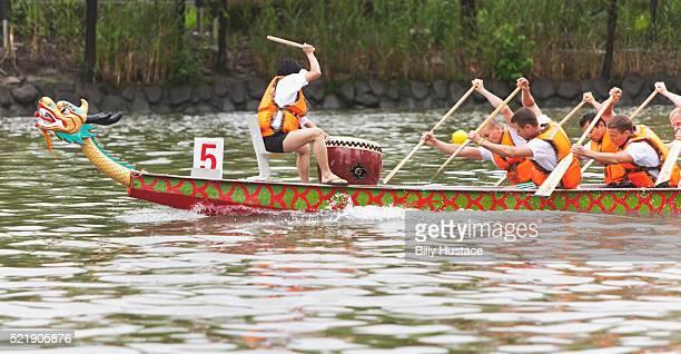 Dragon Boat racing on Suzhou Creek in Shanghai, China