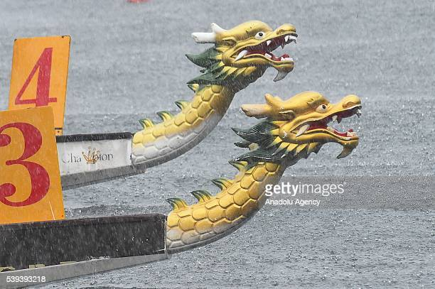 Dragon boats of teams are seen during the Hong Kong Dragon Boat Festival held at Central Harbourfront in Hong Kong on June 11 2016