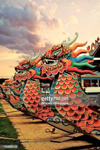 dragon boats on perfume river, hue, north central coast, vietnam - dragon boat 個照片及圖片檔