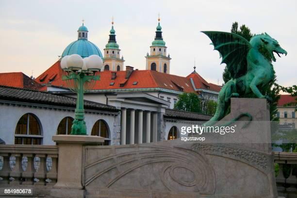 Dragon Bridge and Ljubljana urban skyline , beautiful cityscape of Slovenia capital