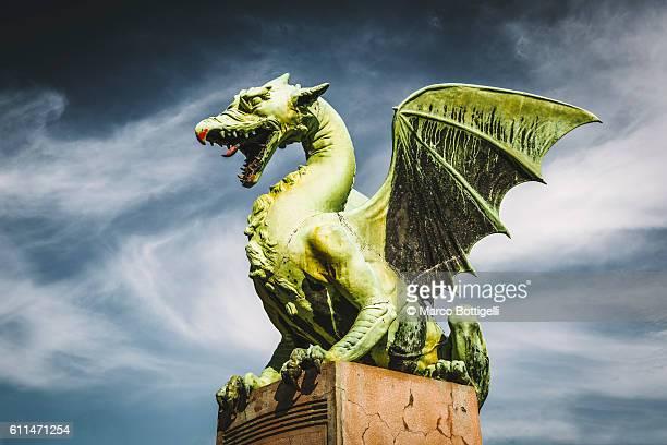 dragon bridge, ljubljana, slovenia, east europe. - dragon stock photos and pictures