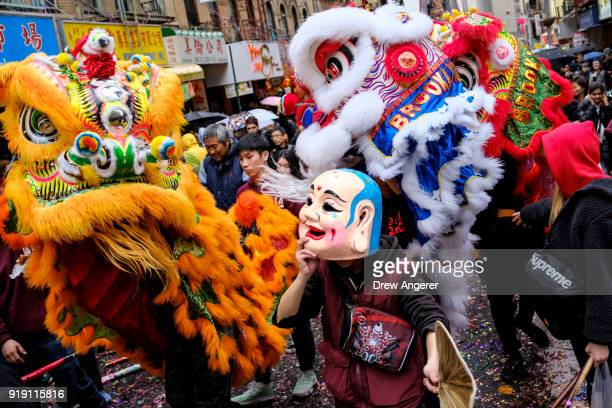 A dragon dance is performed during a cultural festival to mark the first day of the Lunar New Year in Chinatown neighborhood in Manhattan February 16...