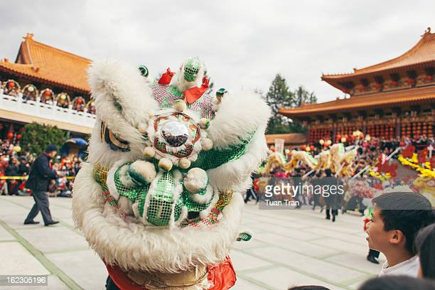 Dragon dancers perform for the crowd to celebrate Chinese New Year at Hsi Lai Temple in Hacienda Heights, California on February 10,2013.