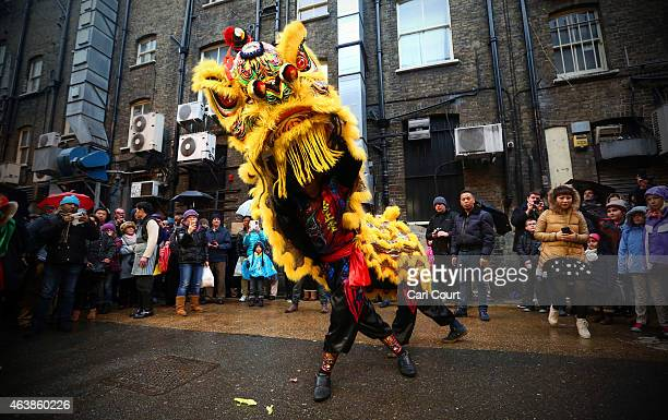 Dragon dancers perform in China Town during Chinese New Year celebrations on February 19 2015 in London England This Sunday will see the largest...