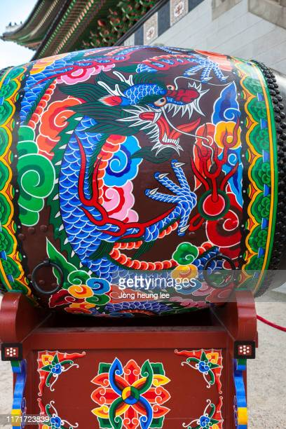 a dragon drum in gyeongbokgung palace - jong heung lee stock pictures, royalty-free photos & images