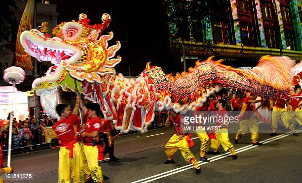A dragon entertains the crowds at the Chinese New Year parade in Sydney on February 17 2013 The parade featured more than 3500 performers from...