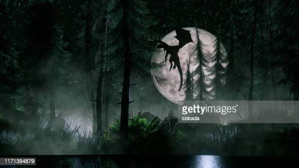 dragon flying at night - dragon stock pictures, royalty-free photos & images