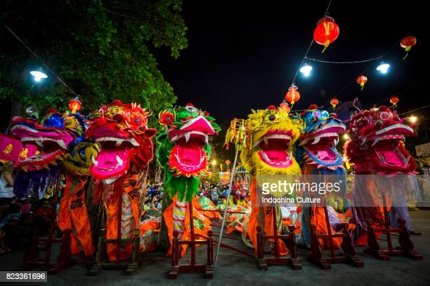 dragon heads at full moon lunar new year - chinese dragon stock photos and pictures