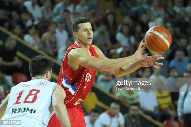 Dragon Milosavijevic of Serbia passes the ball during the FIBA Basketball World Cup Qualifier match between Georgia and Serbia at Tbilisi Sports...