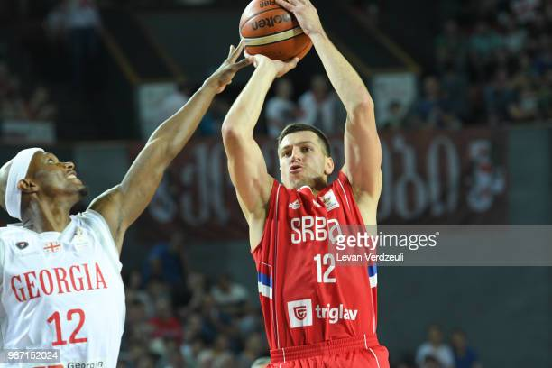 Dragon Milosavijevic of Serbia throws the ball during the FIBA Basketball World Cup Qualifier match between Georgia and Serbia at Tbilisi Sports...