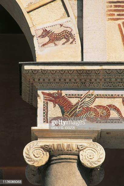 Dragon mosaic on the portico architrave Terracina cathedral or Cathedral of St Caesarius Terracina Lazio Italy 12th century