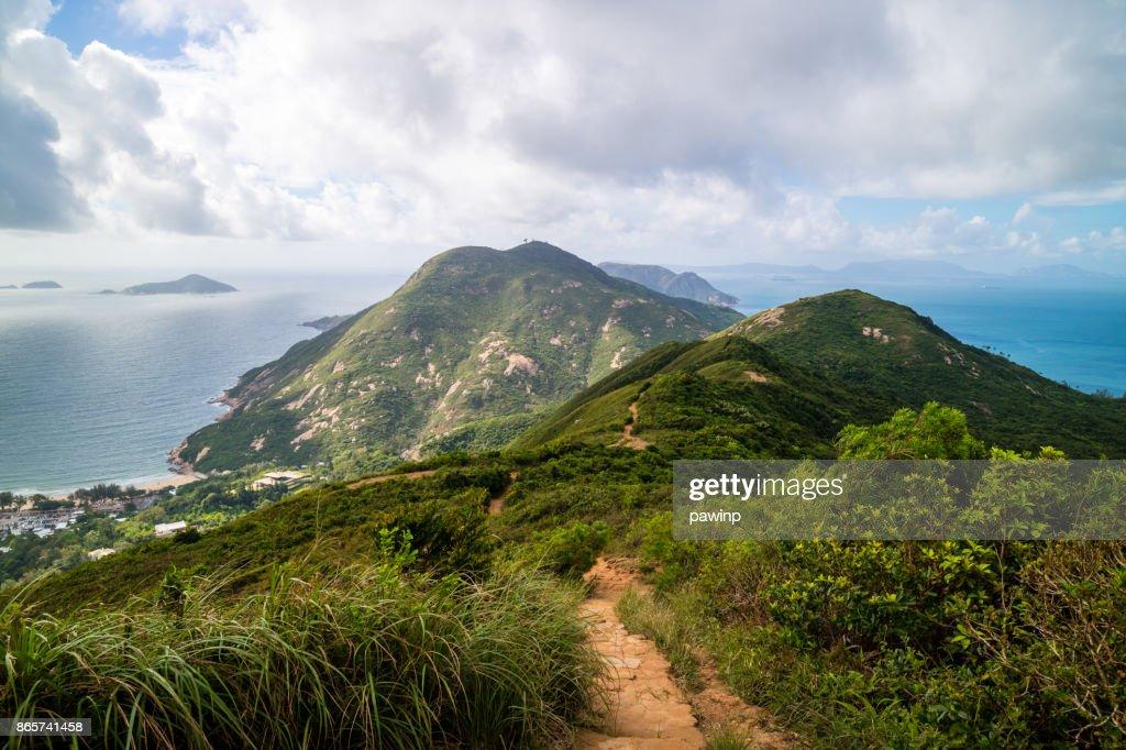 Dragon 's Back mountain trail, best urban hiking trail in Hong Kong : Stock Photo