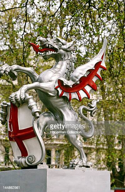 Dragon Sculpture with Shield of St George Holborn London United Kingdom