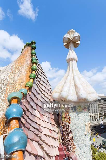 Dragon shaped roof of Casa Battlo, Barcelona, Spain