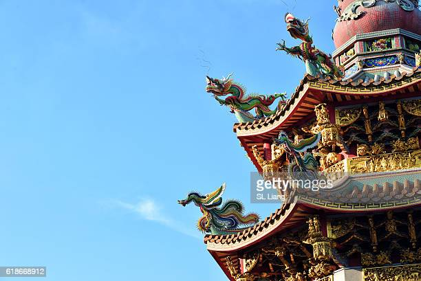 Dragon statue and relief carvings on traditional chinese temple