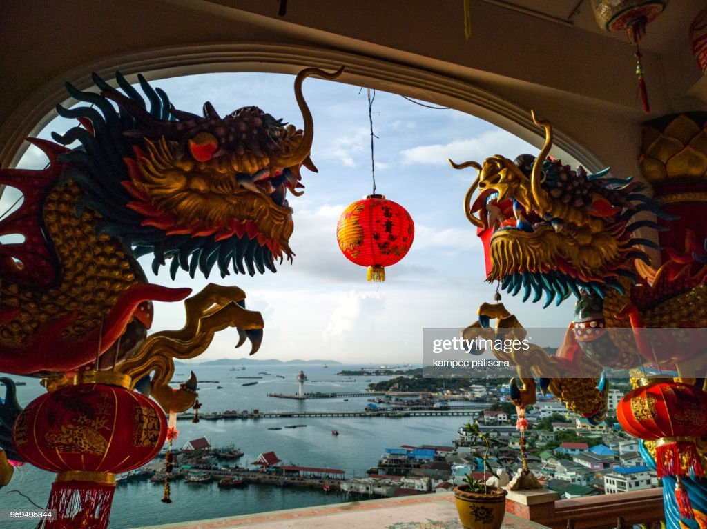 Dragon statue at Chinese temple in Sichang Island, Chonburi, Thailand. : Stock-Foto