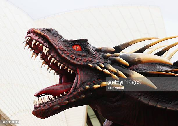 A dragon statue is displayed during a photo call to launch Game of Thrones Season 5 at the Sydney Opera House on April 10 2015 in Sydney Australia